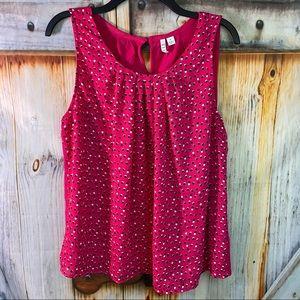 NWOT Elle Sleeveless Polka Dot Blouse with T-Shirt Back Pink Black White XL